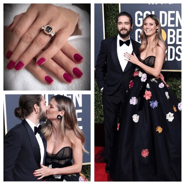 Heidi Klum wearing Chanel nail polish at the Golden Globes 2019. Nails by @tombachik.