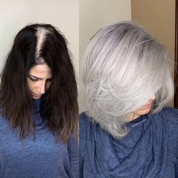 Jack Martin @jackmartincolorist Box Dye Color Correction Transformation Gray Silver How To Color Formulas Before After