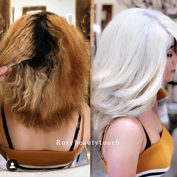 Color Correction Roky Akopyan @roxybeautytouch Haircolor Formula Application Steps How To Transformation Makeover Corrective Color Damaged Dry Brassy Regrowth White Hot Platinum