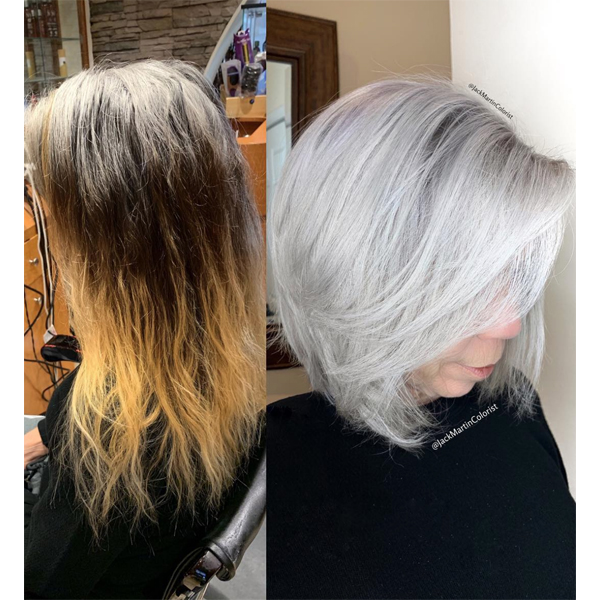 Jack Martin @jackmartincolorist How To Transition Box Dye Color To All Over Gray Silver Tips Article Embrace The Gray