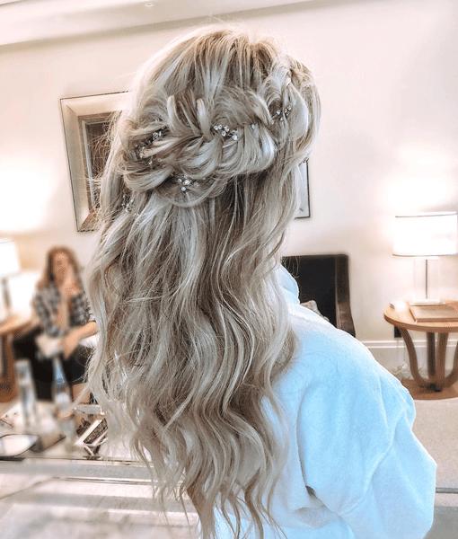blonde, braid, bridal