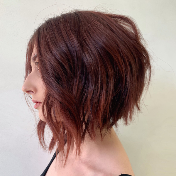 step by step tutorial how to cut a stacked angled textured bob arc scissors styled_by_carolynn