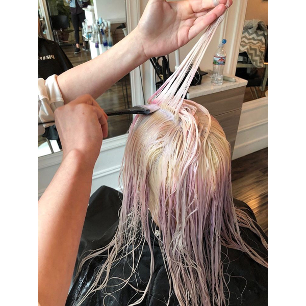 Michael Melody Lowenstein @rossmichaelssalon Pastel Pink Haircolor Formula How To PRAVANA Olaplex Pastels Barely There Shade Soft Bright Baby Pink