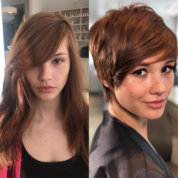 long pixie cut transformation side swept bangs Emily Anderson emilyandersonstyling