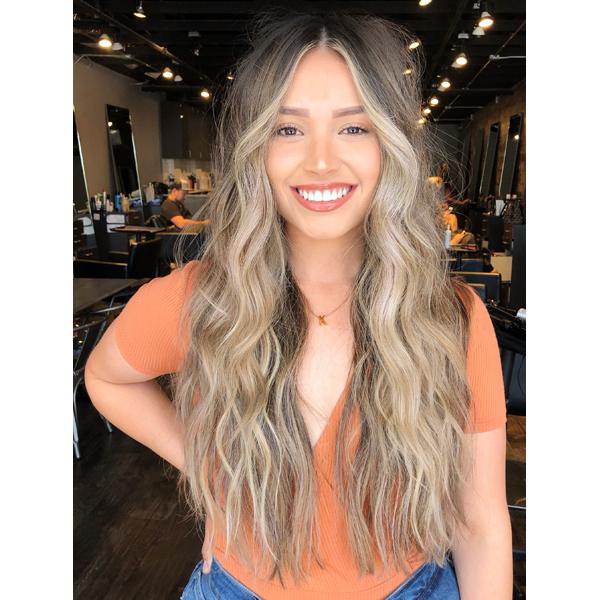 Daniel Mora @danielmbeauty Formula Face Framing Ashy Blonde Ash Balayage Brunette Base Brown Hair Lightener Redken Hot Tools