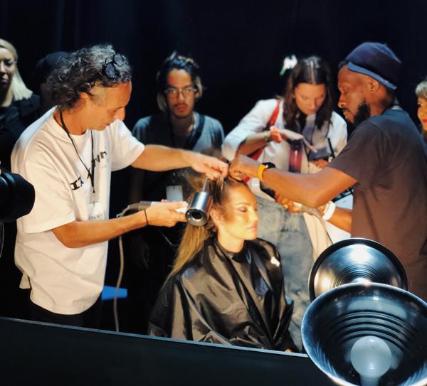 dyson supersonic blow dryer backstage brandon maxwell runway hair