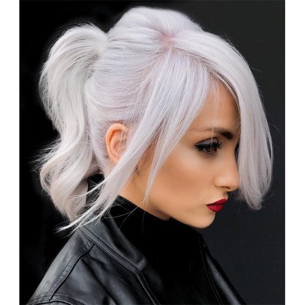 platinum, ponytail, blonde