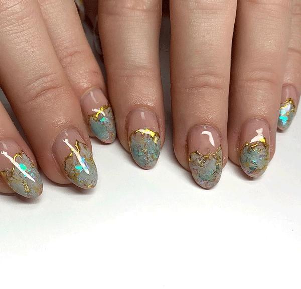 crystal nail art by @beautyworksbyamy