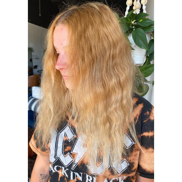 Transformation Brassy To Rooty Blonde Formula How To Jamie Park @hairbyjpark Alfaparf Milano Redken Olaplex