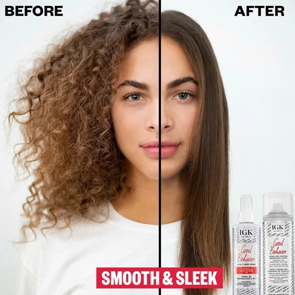 IGK Hair Good Behavior Smoothing Spirulina System Smoothing Treatment Spray and 4-In-1 Prep Spray