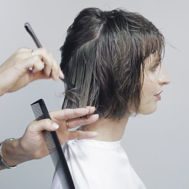French Bob How To Cutting Tutorial Step By Step with Fringe Moroccanoil