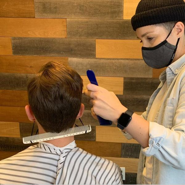 barber face mask hack comb trick