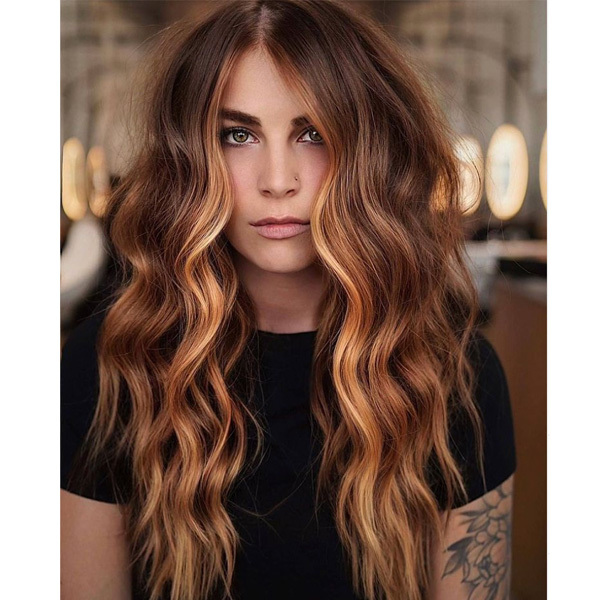 fall 2021 hair color trends pumpkin spice copper highlgihts