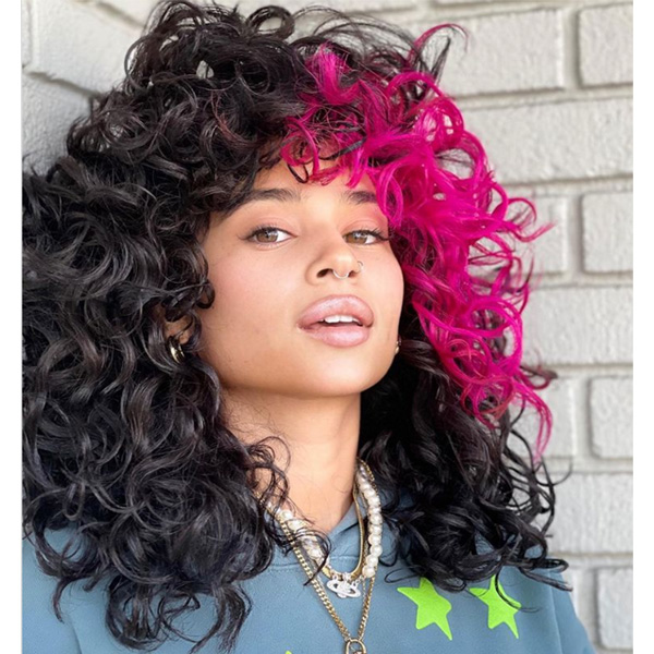 fall 2021 hair color trends color block pink