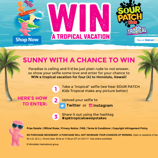 Sour Patch Kids Sweepstakes - WIN a tropical vacation!! #spktropicalsweepstakes #AD