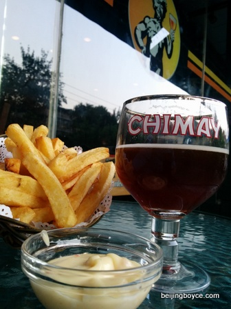 Belgian fries and Chimay Red at Beer Mania Beijing China.jpg