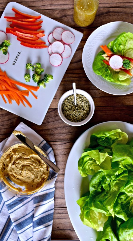 Easy Vegan Lettuce Wraps | These lettuce wraps are the easiest, quickest lunch ever. Plus, they're healthy and filling and you can add just about anything to them. [gluten free, vegetarian recipe]