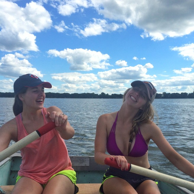 Tips for Easy Camping Dinners | Sydney Berry and Stephani Bloomquist Rowing a Boat in Sibley State Park on Lake Andrew