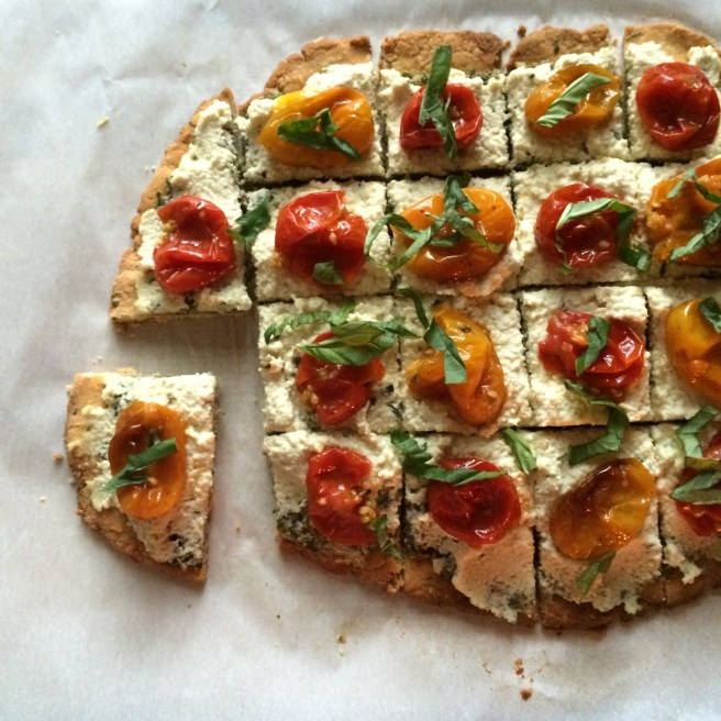 Paleo Tomato Tart | A perfect starter for my garden party menu, this tomato tart has roasted tomatoes, dairy free pesto and vegan lemon ricotta.