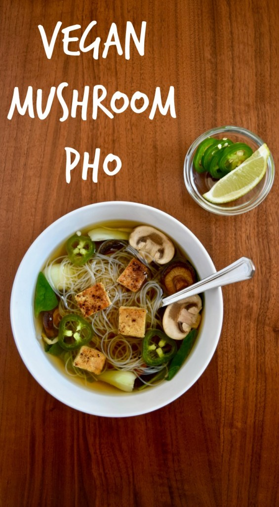 Easy Vegan Pho-Style Soup | Using premade mushroom and ginger broth you can have an easy vegan pho-style soup in no time at all! [gluten free, vegan, vegetarian]