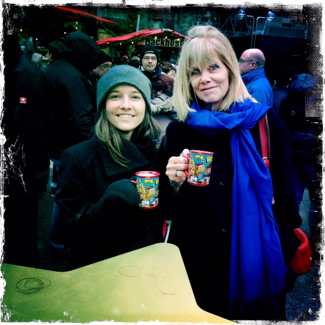 Susan and Adelina drinking mulled wine