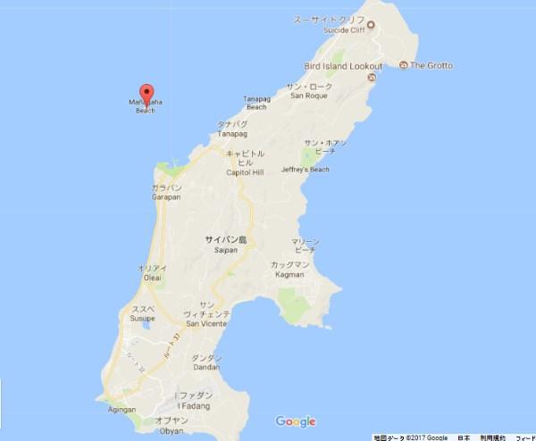 サイパン島とマニャガハ島の距離感のマップ