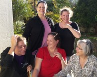 Trying to get a picture of me, mommy darling, sister B, sister C and SIL S