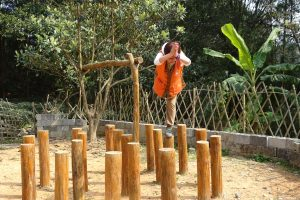 Guide balancing on wooden stumps in ground