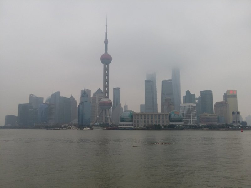 View of the Bund of Shanghai from across the river