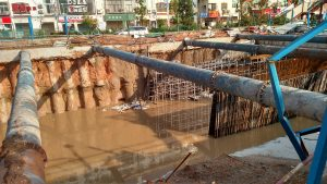 Xiamen subway construction works flooded with brown water