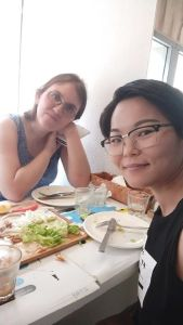 Two girls having lunch.