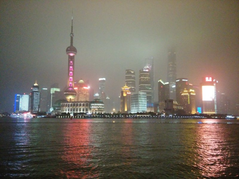 A view of the Bund in Shanghai, over the river