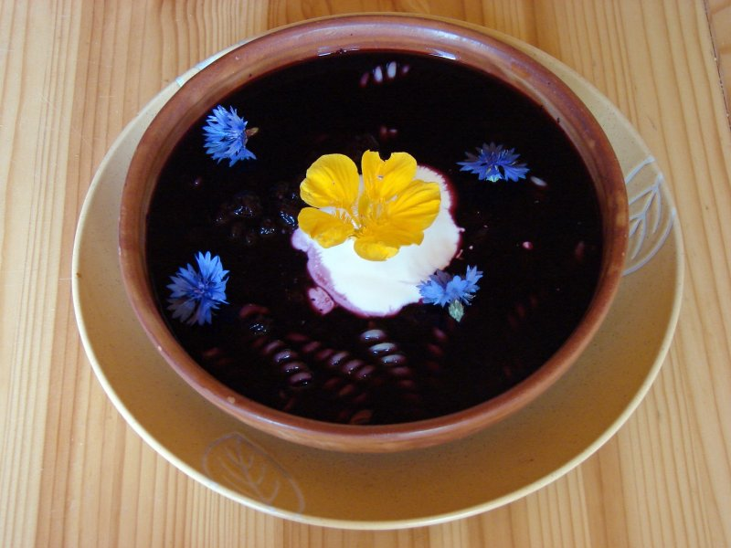 Blueberry fruit soup, a dark blue with flower petals floating in it