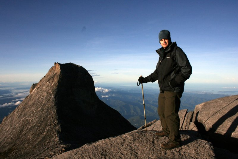 Me on Mount Kinabalu Summit, Sabah, in Hiking Gear and Beanie
