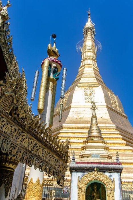 View looking up at Sule Paya's Kyaik Athok octagonal stupa.