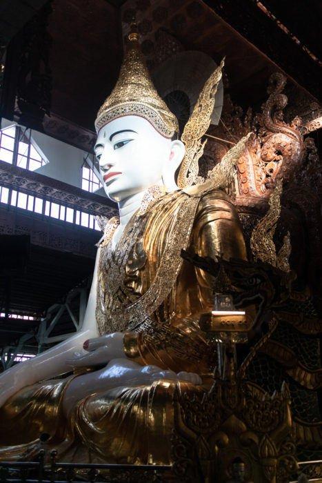 View looking up at Nghtagyi Paya's 46ft Buddha image.