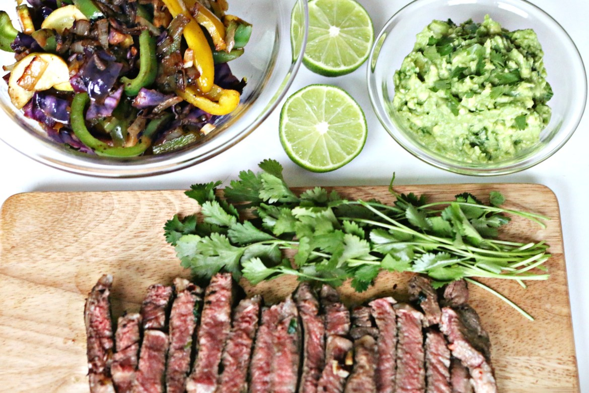 Grass-fed Beef Fajitas via Brigid Titgemeier from BeingBrigid Functional Nutrition