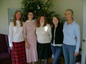 Caroline (Charis' mother), Charis, Meredith, Rachael, Reita (Rachael's mother) - all Meredith College alumnae