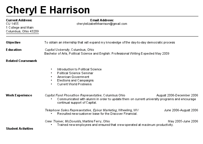 First Resumes For Jobs. Resume Samples For Jobs Application