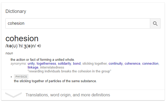 Dictionary meaning of Cohesion