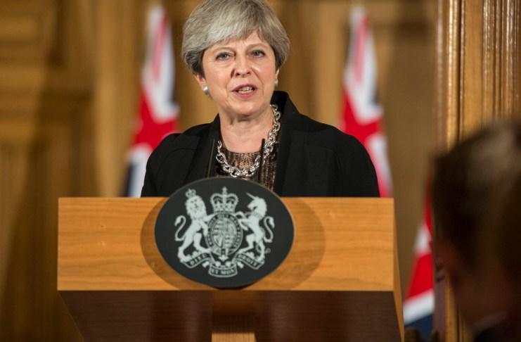 Theresa May podium