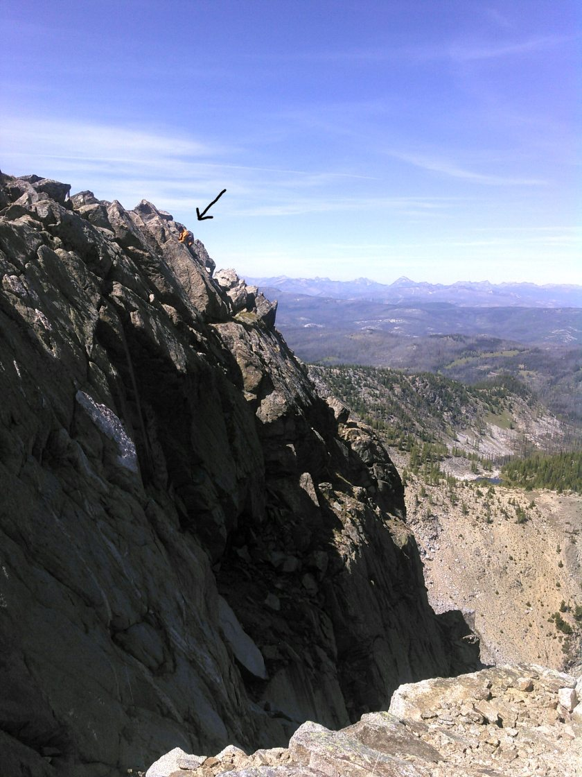 North facing cliff of Mt. Tiffany. Jason risks life and limb to find rare lichens!