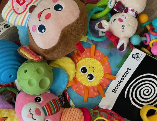Various toys piled on top of each other