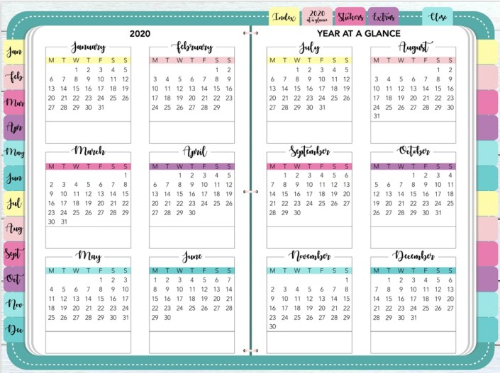 Unlike the minimalist planner from Brookebot's digital planner, with this planner, you can decorate. On the left, it has the months of the year, spanning from January to December. At the top, it has tabs for the index page, calendar, stickers and extras. Paperless X