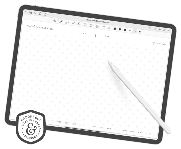 iPad pros showing the daily layout of Brookebot's digital planners