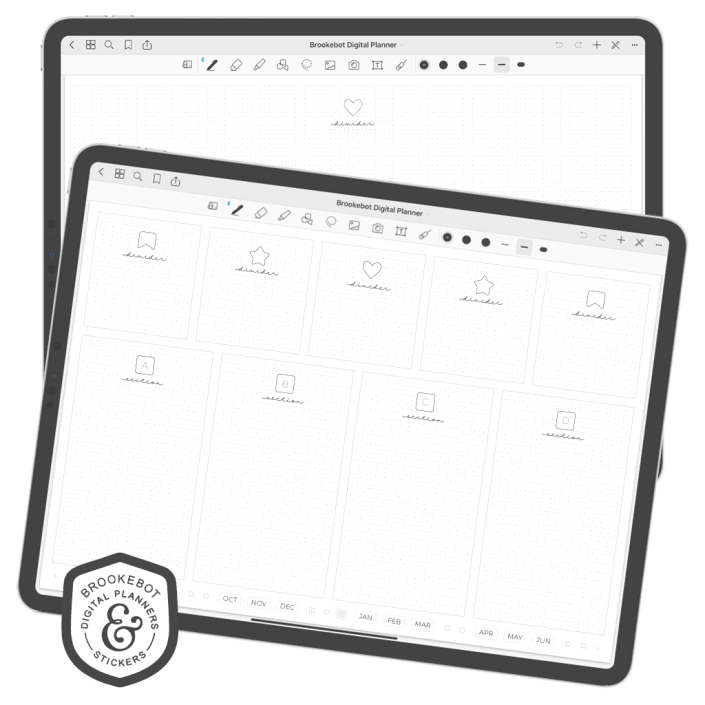 This review focuses on the $57 Panda-Cupcake Brookebot's digital planner. To see all the different types of planners available from in the Brookebot shop, be sure to visit their website. Paperless X