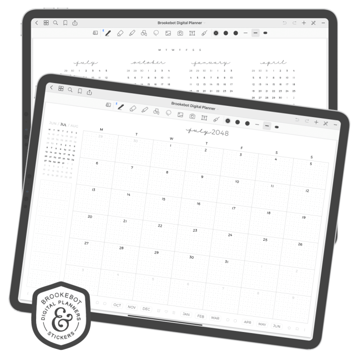 The monthly spread of BrookeBot's digital planner opened on the iPad Pro in GoodNotes