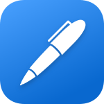 Logo of a note-taking app called Noteshelf