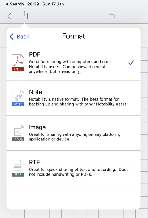 Supported formats in Notability