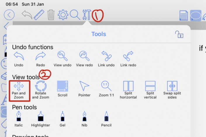 How to add Pan and Zoom to your toolbar when you want to activate vertical scrolling in ZoomNotes